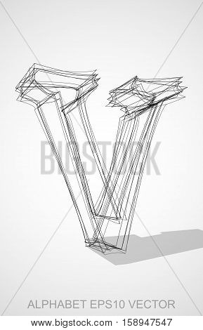 Abstract illustration of a Ink sketched lowercase letter V with Transparent Shadow. Hand drawn 3D V for your design. EPS 10 vector illustration.