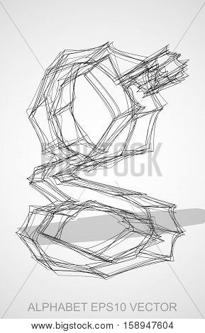 Abstract illustration of a Ink sketched lowercase letter G with Transparent Shadow. Hand drawn 3D G for your design. EPS 10 vector illustration.
