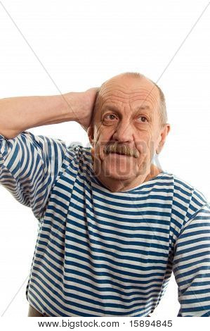 The Elderly Man Isolated On White Background