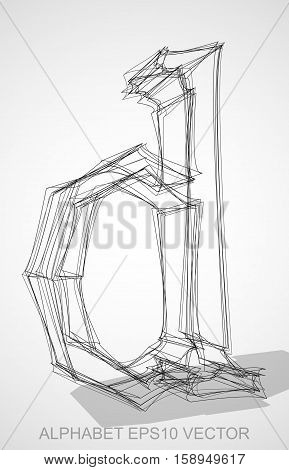 Abstract illustration of a Ink sketched lowercase letterD with Transparent Shadow. Hand drawn 3D D for your design. EPS 10 vector illustration.