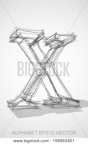 Abstract illustration of a Ink sketched lowercase letter X with Transparent Shadow. Hand drawn 3D X for your design. EPS 10 vector illustration.
