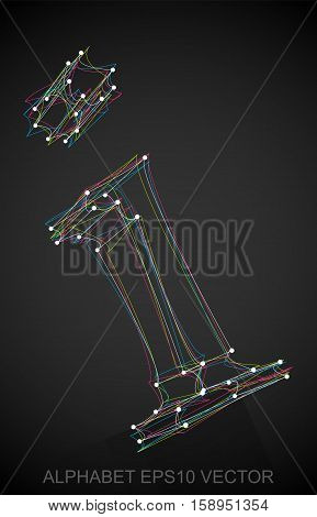 Abstract illustration of a Multicolor sketched lowercase letter I with Reflection. Hand drawn 3D I for your design. EPS 10 vector illustration.