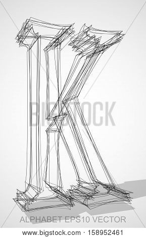 Abstract illustration of a Ink sketched uppercase letter K with Transparent Shadow. Hand drawn 3D K for your design. EPS 10 vector illustration.