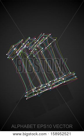 Abstract illustration of a Multicolor sketched lowercase letter M with Reflection. Hand drawn 3D M for your design. EPS 10 vector illustration.