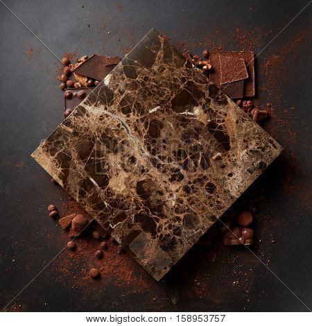 different chocolates and cocoa powder