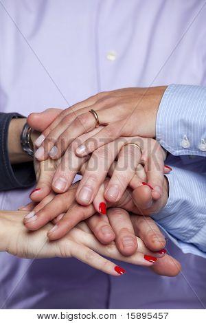 Group of hands together, teamwork concept (selective focus)