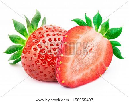 Perfectly retouched strawberry with sliced half and leaves isolated on white background with clipping path
