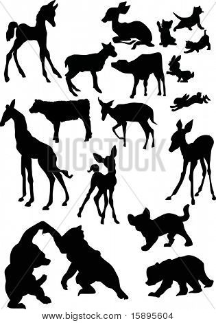illustration with animal baby silhouettes isolated on white background