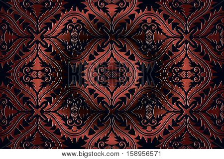abstract seamless background vintage embossed bronze openwork pattern on the dark background in Victorian style