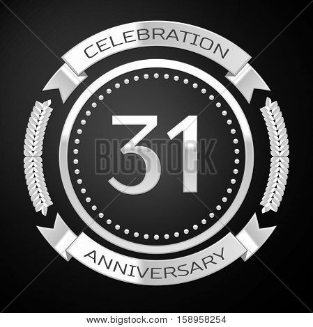 Thirty one years anniversary celebration with silver ring and ribbon on black background. Vector illustration