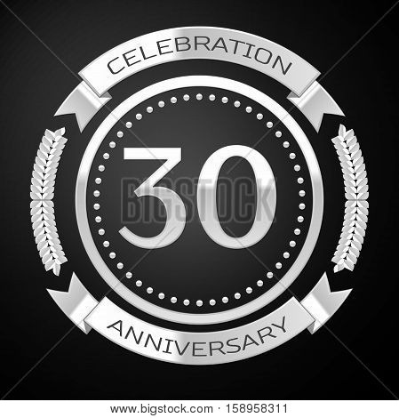 Thirty years anniversary celebration with silver ring and ribbon on black background. Vector illustration