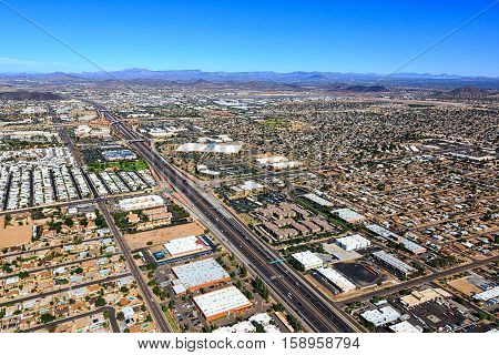 A transportation artery in Phoenix Arizona and the southwest is Interstate 17 also known as the Black Canyon Freeway viewed from above.
