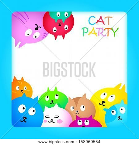 Celebration card with colorful funny cats