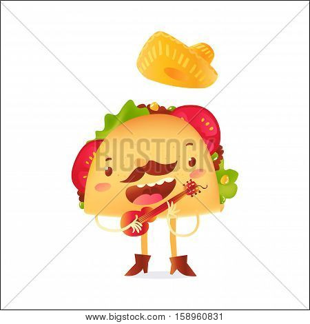 Happy taco character in sombrero singing and playing Mexican guitar, cartoon vector illustration isolated on white background. Mexican taco character in cowboy boots singing and playing guitar