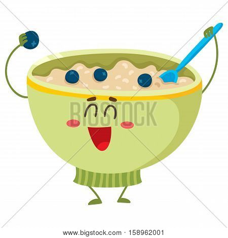 Cute and funny bowl of cereal, corn flakes, oatmeal porridge character, cartoon vector illustration isolated on white background. Funny smiling bowl of oats, cereal, porridge mascot