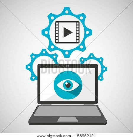 computer security film movie social network concept vector illustration eps 10