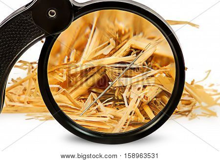 Magnifier enlarges a needle in haystack isolated on white background