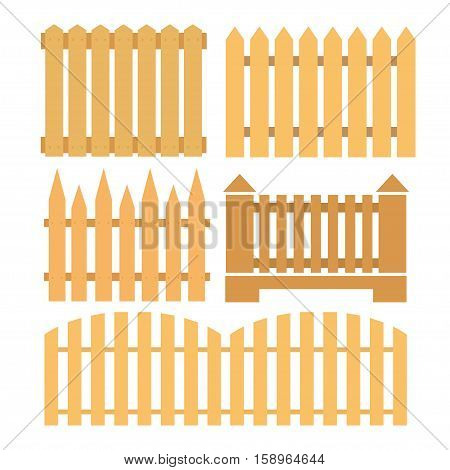 vector set from fence elements for design wooden fences and gate on white background