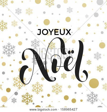 French Christmas background pattern Joyeux Noel decorative snowflake vector. Christmas in France snow decoration background. Merry Christmas festive text calligraphy lettering for greeting card