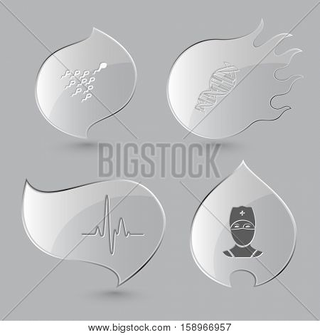 4 images: spermatozoon, dna, cardiogram, doctor. Medical set. Glass buttons on gray background. Fire theme. Vector icons.
