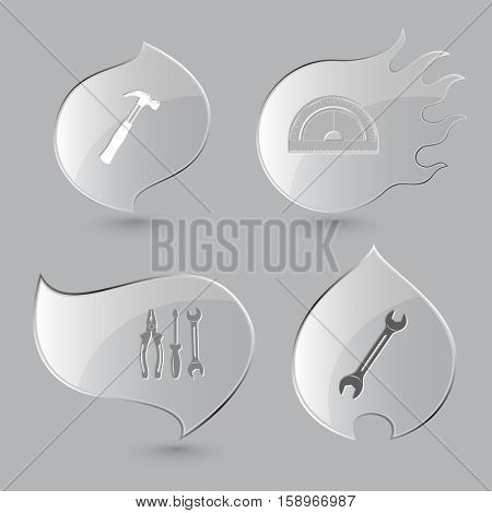 4 images: hammer, protractor, tools, spanner. Industrial tools set. Glass buttons on gray background. Fire theme. Vector icons.