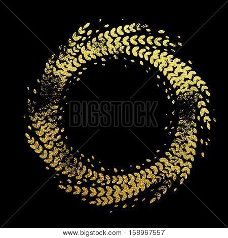 Golden background with floral wreath decorative ornament. Glittering gold foil floral wreath imprint of leaf laurel garland. Symbol for New Year and Christmas holiday black background design