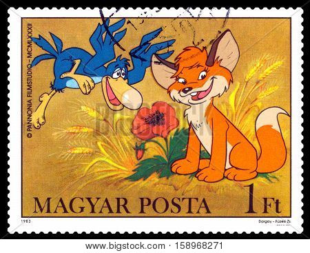 STAVROPOL RUSSIA - November 28 2016: A stamp printed in Hungary shows Pup and Bird - heroes childlike TV programs cartoons series circa 1982