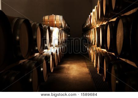 French Oak Barrels In The Wine Cellar In Franschhoek