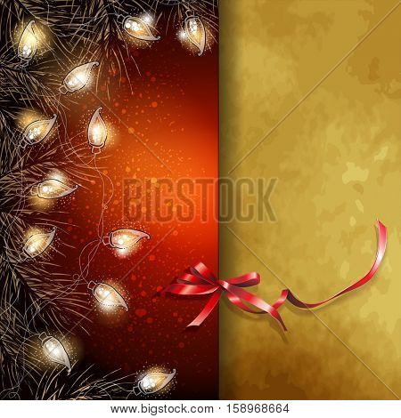 The raster version Christmas background with fir-tree branches and luminous electric garland. Greeting card.