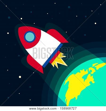 Spacecraft Vector illustration The rocket flying from the Earth into space Flat design