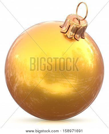 Golden gold Christmas ball yellow New Years Eve decoration bauble wintertime adornment souvenir. Traditional hanging ornament happy winter holidays Happy Merry Xmas symbol blank shiny. 3d illustration