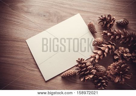 background with pinecones and copy space for text