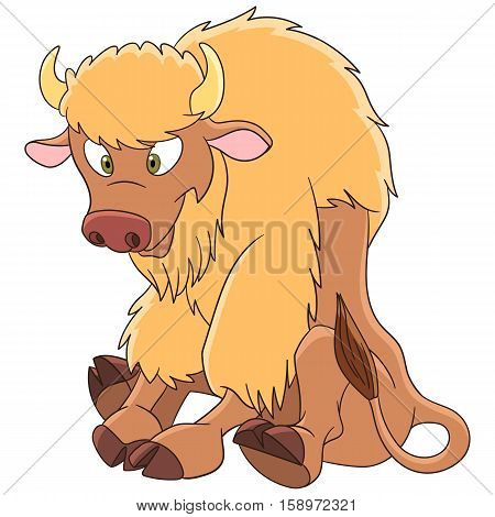 Cute and happy cartoon yak (american bison, buffalo, ox, bull), isolated on white background. Childish vector illustration and colorful book page for kids.