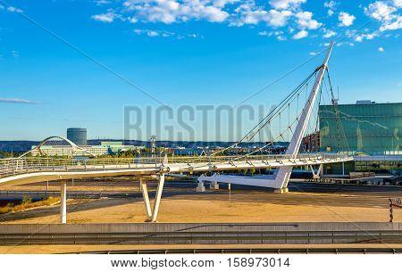 Suspension pedestrian bridge at Zaragoza-Delicias station, Spain