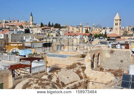JERUSALEM 28 10 16: Bird eye view of Jerusalem is a city located on a plateau in the Judaean Mountains. One of the oldest cities in the world, Jerusalem was called Urusalima meaning City of Peace
