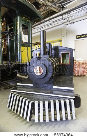 Portland Maine USA - August 10 2009: Plywood steam engine for children at the Maine Narrow Gauge Railroad Museum