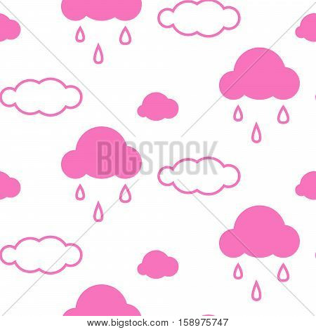 Pink sky clouds seamless kid vector pattern. Girlish background. Minimalist style textile fabric cartoon scandinavian ornament.