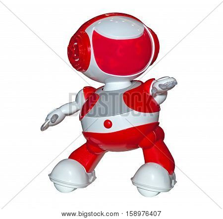 Red color robot toy isolated on white background