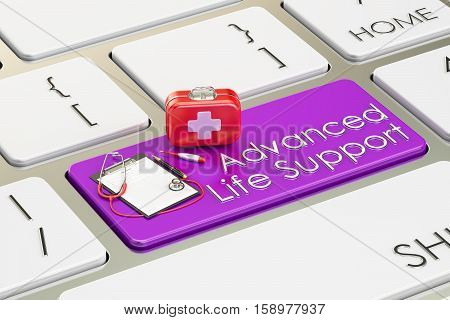 Advanced Life Support key on keyboard 3D rendering