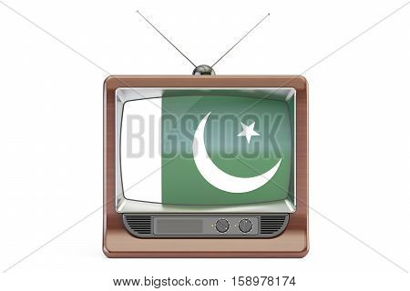 old tv with flag of Pakistan. Pakistani Television concept 3D rendering