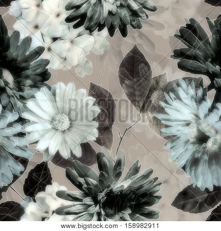 art vintage monochrome grey blurred watercolor and graphic floral seamless pattern with white gerbera and asters, dark leaves on beige background. Double Exposure effect