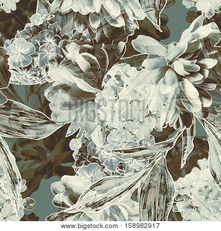 art vintage blurred monochrome green grey watercolor and graphic floral seamless pattern with white peonies and leaves on background. Double Exposure effect