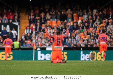 VALENCIA, SPAIN - NOVEMBER 20th: Boga celebrates a goal during La Liga soccer match between Valencia CF and Granada CF at Mestalla Stadium on November 20, 2016 in Valencia, Spain