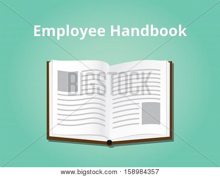 employee handbook illustration with books open and text on top vector