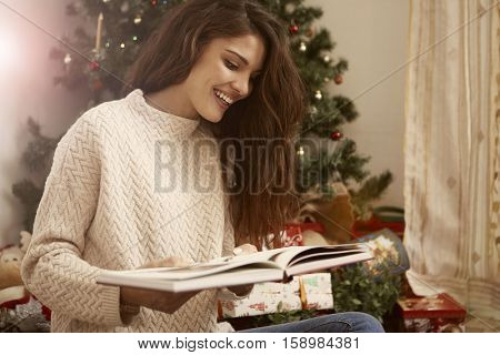 Girl being happy after received a gift