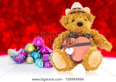 Teddy Bear With Gifts And Ornaments New Years