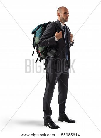 Businessman with elegant suit and explorer backpack