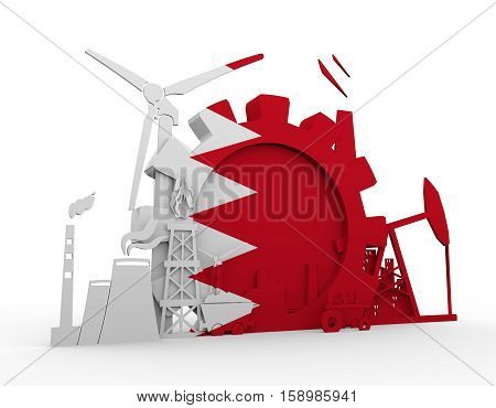 Energy and Power icons set with Bahrain flag. Sustainable energy generation and heavy industry. 3D rendering.