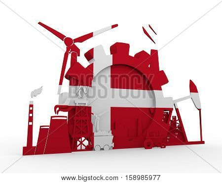Energy and Power icons set with Denmark flag. Sustainable energy generation and heavy industry. 3D rendering.