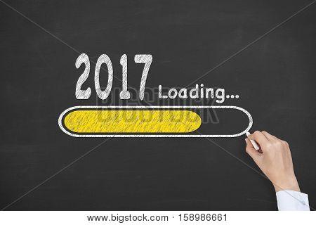 New Year 2017 Loading Technology on Blackboard Background